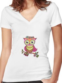 Cute colorful cartoon owl sitting on tree branch Women's Fitted V-Neck T-Shirt