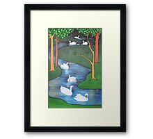 A Flock of Seven Swans-A-Swimming ..... Framed Print