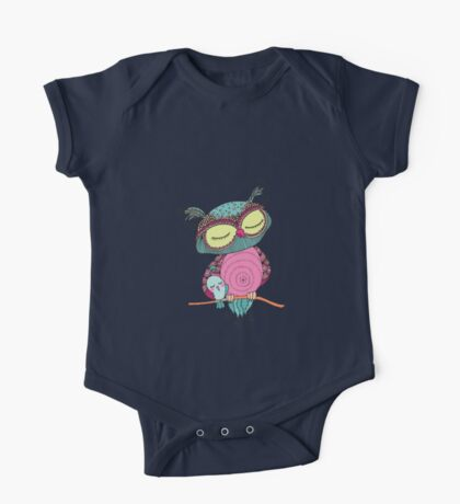 Cute colorful owl and little bird sitting on tree branch One Piece - Short Sleeve