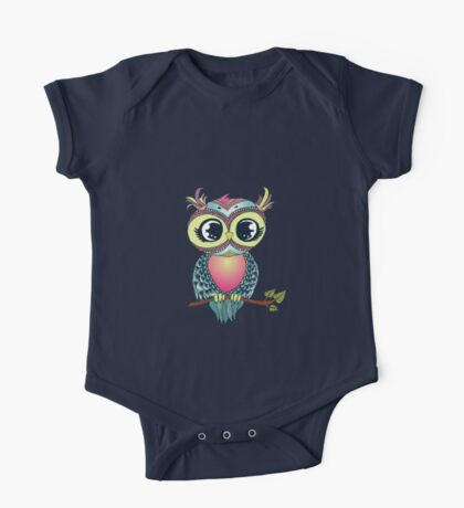 Cute colorful cartoon owl sitting on tree branch One Piece - Short Sleeve