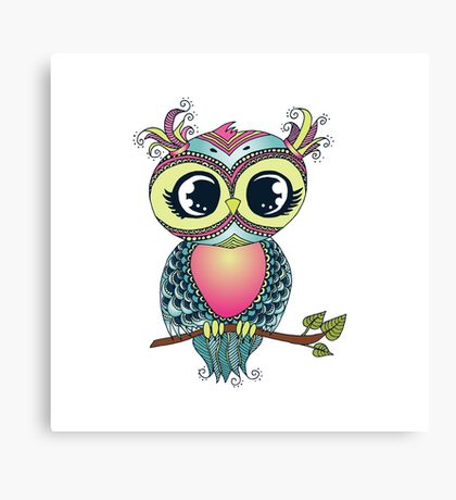 Cute colorful cartoon owl sitting on tree branch Canvas Print