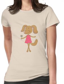 Cute dog with closed eyes in pink dress Womens Fitted T-Shirt