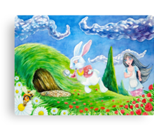 Oh dear! I shall be late! (Alice and the White Rabbit) Canvas Print