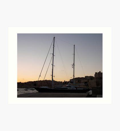 Yacht in night sky Art Print