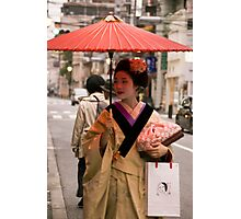 Geisha in the Rain Photographic Print