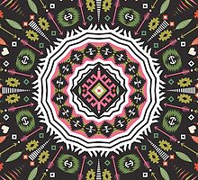 Ornamental round aztec geometric pattern by Olena Syerozhym