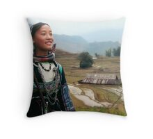 North Vietnam rice fields Throw Pillow