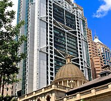 Architectural Contrast - Hong Kong. by Tiffany Lenoir