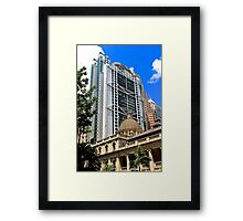 Architectural Contrast - Hong Kong. Framed Print