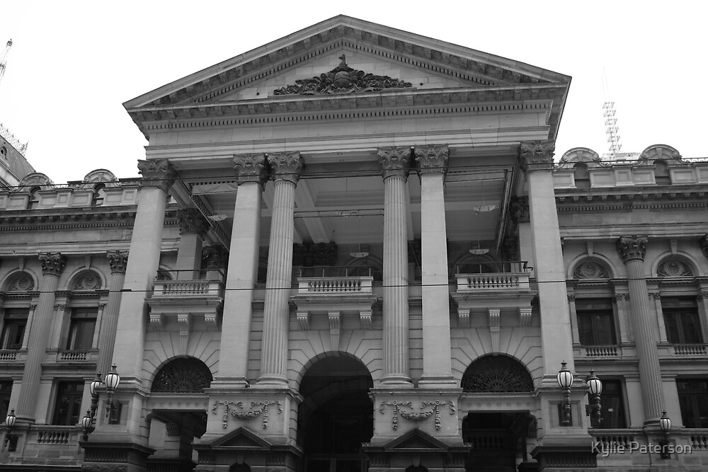 Melbourne Town Hall Black and White by Kylie Paterson