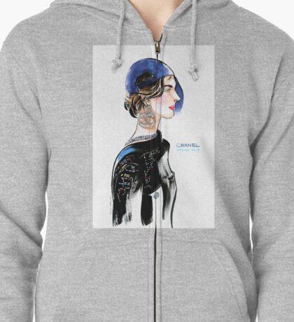 fashion #6: girl in baseball cap and big earrings Zipped Hoodie
