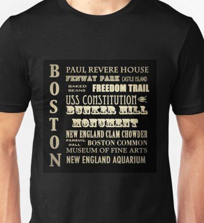 Boston Massachusettes Famous Landmarks Unisex T-Shirt