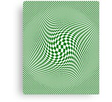 Check Swirl - Green & White Canvas Print