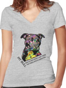 Pitbull BSL Black Women's Fitted V-Neck T-Shirt