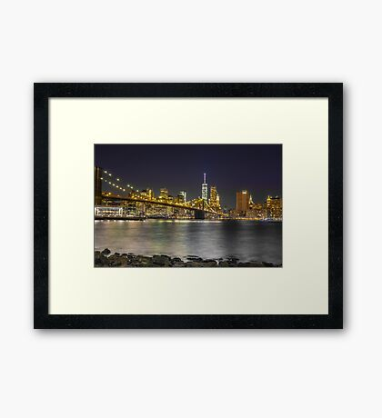 Manhattan at night Framed Print