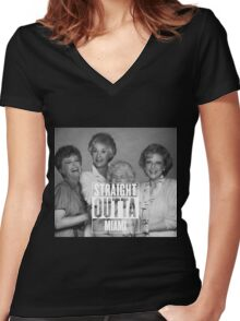 Straight Outta Miami Women's Fitted V-Neck T-Shirt