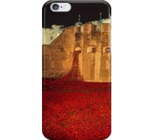 Poppies at theTower of London -  Night Panorama iPhone Case/Skin