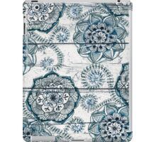 Shabby Chic Navy Blue doodles on Wood iPad Case/Skin
