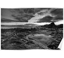 Emerald Beach (black & white) Poster