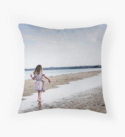 Balancing on water Throw Pillow