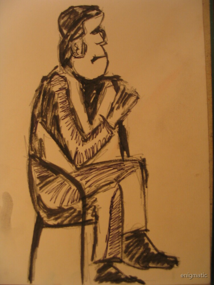 Man sitting in a chair by enigmatic