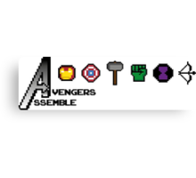 Avengers Assemble 8-bit Canvas Print