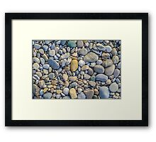 Background Of Smooth River Stones Framed Print