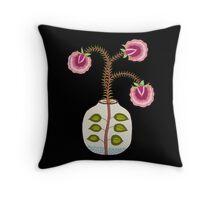 flower pot and three flower illustration Throw Pillow
