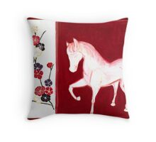 'PEACH BLOSSOM HORSE' Throw Pillow