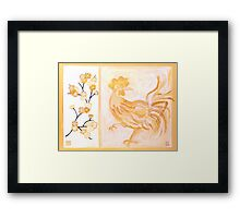 'PEACH BLOSSOM ROOSTER' Framed Print