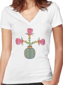 flower pot illustration 1 Women's Fitted V-Neck T-Shirt