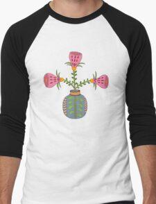 flower pot illustration 1 Men's Baseball ¾ T-Shirt