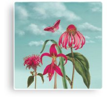Raspberry Pink Flowers with Turquoise Sky Canvas Print