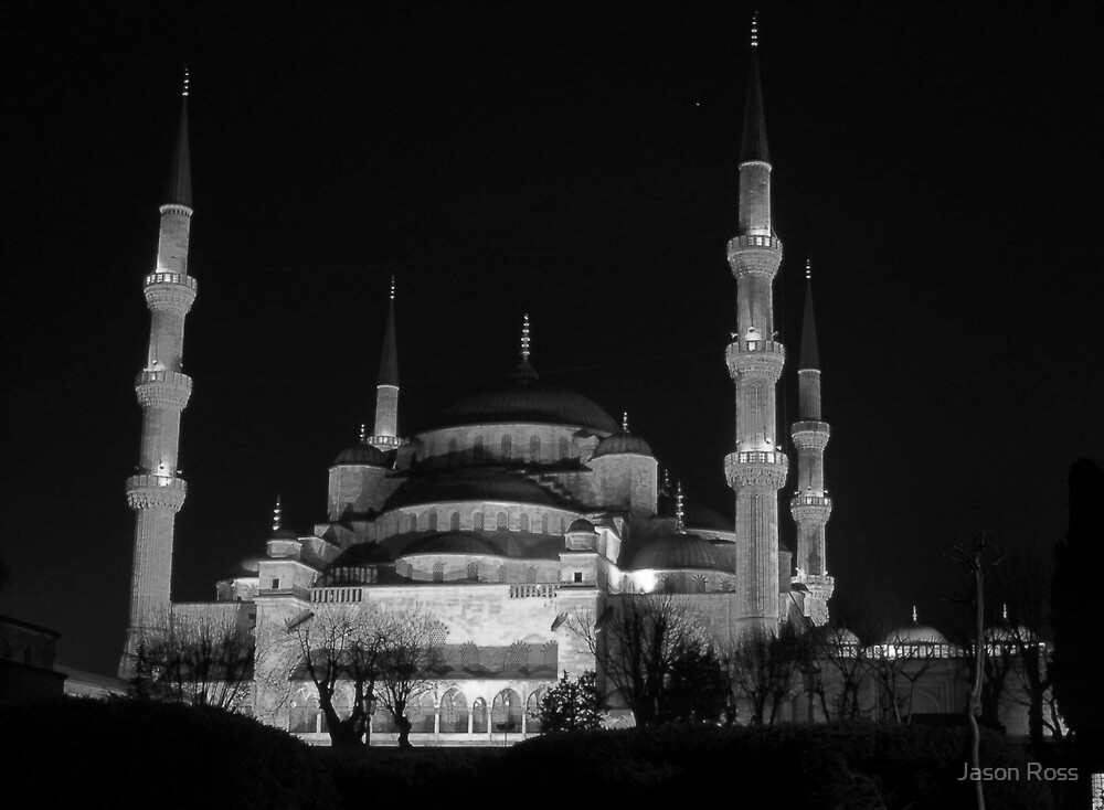 Blue Mosque B&W by Jason Ross