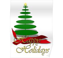 Christmas Tree with Red Ribbon Poster