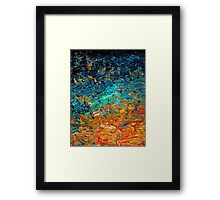 ETERNAL TIDE 2 Bold Rainbow Colorful Deep BlueTurquoise Aqua Orange Yellow Ombre Waves Abstract Acrylic Painting Framed Print