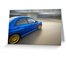 Blue Subaru Impreza WRX rig shot Greeting Card