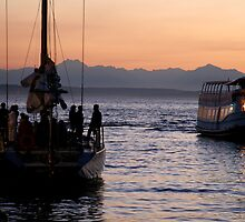 Boats in the sunset by KaelaRose