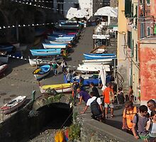 Boats at Riomaggiore by Duncan Cunningham