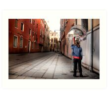 Venice Phone Call Art Print