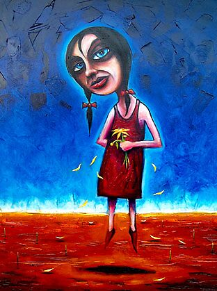 """""""Spring"""" (Red Dust Girl Series) Oil on Canvas. by Leith"""