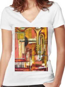 """""""Jazz is Art, Art is Jazz"""" Women's Fitted V-Neck T-Shirt"""