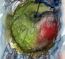 Abstract apple watercolour painting,  Desk art or wall art by Simon Rudd