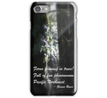 snowy Oregon ferns in trees 3 with haiku iPhone Case/Skin