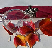 Wine Glass With Leaves by John Butler