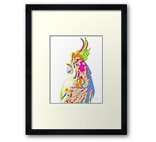 7 DAYS OF SUMMER- COCKATOO ART IN BLUE AND PEACH Framed Print