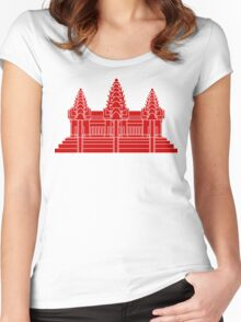 Angkor Wat / Khmer / Cambodian Flag Women's Fitted Scoop T-Shirt