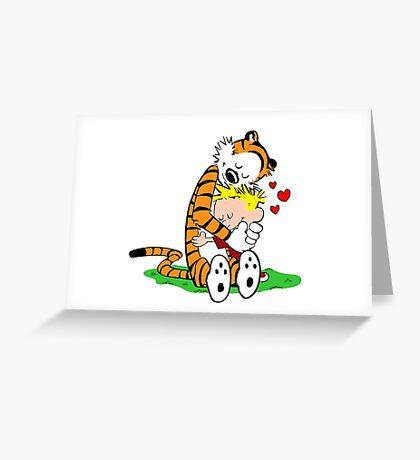 Calvin and Hobbes hugging Greeting Card
