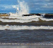 Big Waves at Grand Marais by Kenneth Keifer