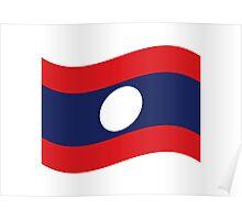 Laos Flag Wave Poster